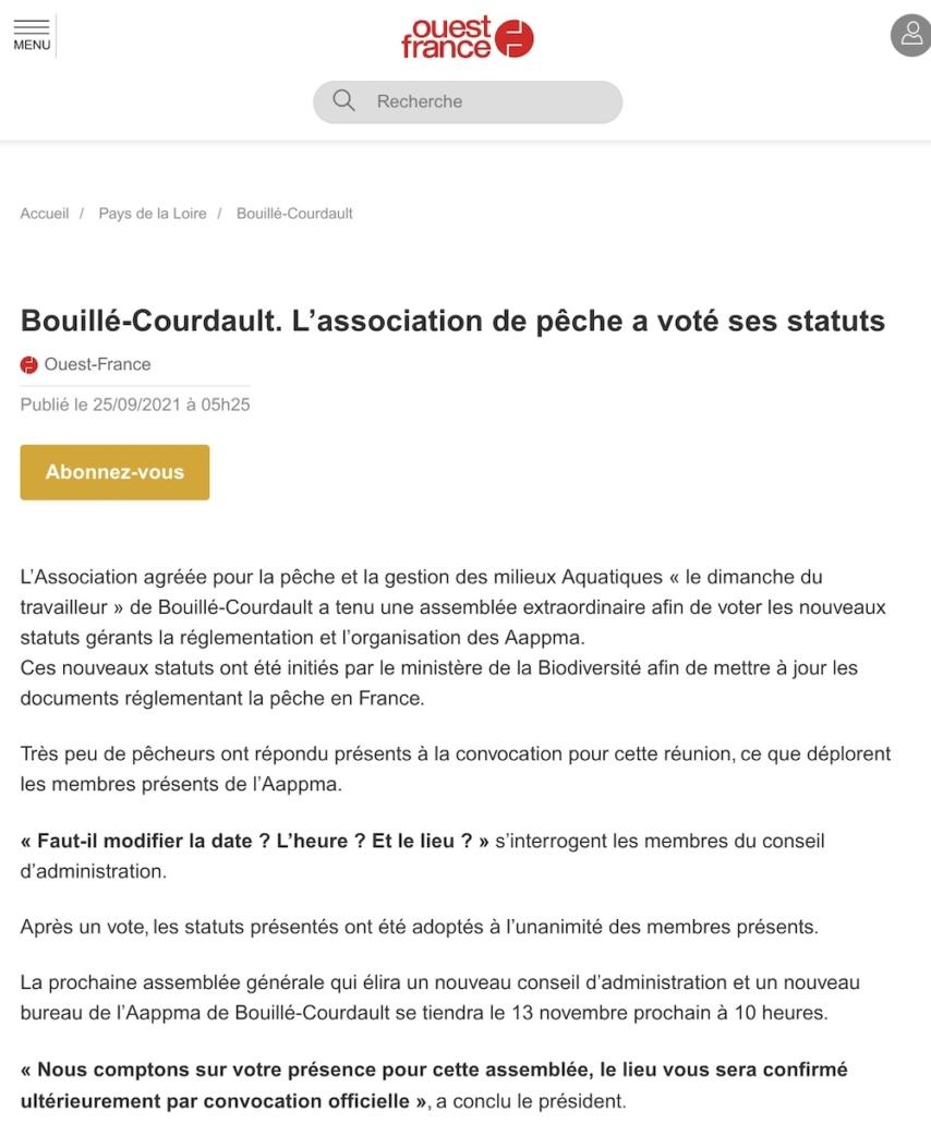 Article Ouest France L association de peche a vote ses statuts